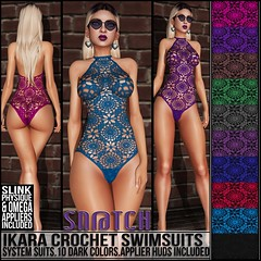 Sn@tch Ikara Crochet Swimsuits Dark Vendor Ad LG (Tess-Ivey Deschanel) Tags: costumes summer sexy clothing model mesh clothes sl secondlife second swimwear snatch specials capris clubwear slink thedressingroom sntch slfashion slclothing meshclothing meshclothes slinkphysique
