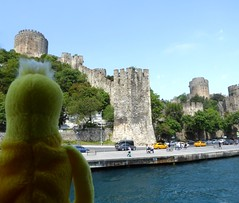 Istanbul - Swami passing by Rumelian Castle (ashabot) Tags: travel castles turkey cities istanbul rivers bosphorus swami riverboats medievalruins rumelihisarı medievalcastles worldcities rumeliancastle