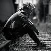 Lost hope (charlesnagy) Tags: blackandwhite bw man mood sitting sad railway rails highlight hopeless rimlight losthope hungergamestheme