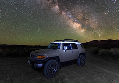 The Milky Way over The FJ II (Dave Toussaint (www.photographersnature.com)) Tags: california ca longexposure travel sky usa nature northerncalifornia june night canon landscape star photo interestingness google interesting photographer picture clarity explore adobe getty norcal monolake highiso milkyway adjust longvalley easternsierra leevining 2015 toyotafjcruiser denoise topazlabs photographersnaturecom davetoussaint 5dmarkiii photoshopcc