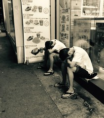 7-11 (dltaylorjr) Tags: street nightphotography light sleeping blackandwhite bw love speed photography hongkong mirror twins brothers sleep low dream culture guys dreaming tired shutter nightmare 711 seveneleven iphone brotherly