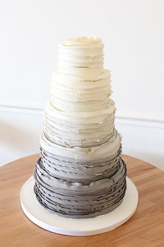 Grey Ombre Ruffles Wedding Cake