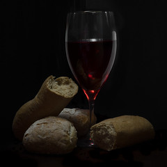 Come, Break Bread With Me (photogenicZ) Tags: red stilllife dark square bread break venus wine sony crop f22 a7 breaking venus60mmf28