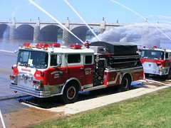 Pump Primers 7-11-15. Pumping from the Susquehanna River. (dfirecop) Tags: river fire pump firetruck fireengine susquehanna riverfrontpark pumper firecompany fireequipment firegear dfirecop pumpprimers susquhanariver