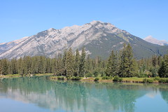 Banff, Alberta, Canada (MJR96) Tags: park trees wild sun mountain lake canada mountains green nature water beauty forest rockies outdoors natural outdoor rocky peak ab canadian calm fresh ridge evergreen national alberta bow summit banff alta np wilderness emerald cdn