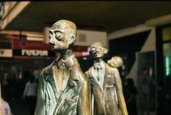 """Three Businessmen Who Bought Their Own Lunch"" (jasonkb) Tags: street winter sculpture bronze 50mm kodak iso400 australia melbourne victoria filter nd fed2 density neutral industar61ld"