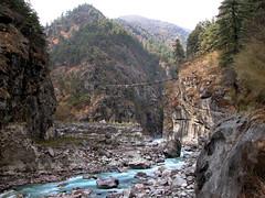 Fear Factor (Magryciak) Tags: 2005 trip travel bridge blue nepal cliff colour water trekking trek landscape outdoors asia whitewater stream fear drop adrenaline