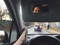 342/366 (moke076) Tags: 2016 365 366 project366 project 365project project365 oneaday photoaday vsco vscocam cell cellphone iphone mobile self selfie portrait me car subaru forester leg up light street signal waiting eyes reflection mirror flats