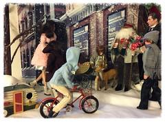 Re-Arrangement of the Christmas shopping set! (Land of Dolls) Tags: christmas shopping 16thscale diorama dolls fashionroyalty integrity streetscene santaclause reindeer children bicycle snow ruruko