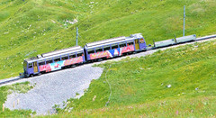 Montreux–Glion–Rochers-de-Naye Railway - Unit 303, Villeneuve, built in 1983 approaches the final tunnel on its trip to the Summit on the 6th July 2015 (trained_4_life) Tags: switzerland montreux–glion–rochersdenayerailway mgn rochersdenaye cograilway rackrailway mountainrailway vaud