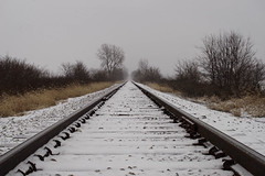 Cold Barren Tracks (+Lonnie & Lou+) Tags: travel landscape sony usa ohio railroad snow winter rural sky clouds cold midwest path symmetry