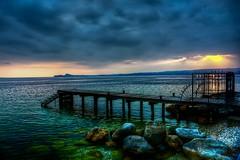 La scaletta (giannipiras555) Tags: sole tramonto landscape nuvole scogli spiaggia scaletta pontile panorama nikon