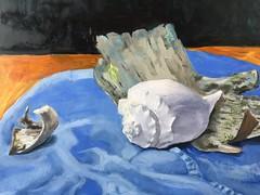 Shell and Birch Day Three (Handwork Naturals) Tags: blue 2017 dailypainting ocean color light painting birchbark bark birch seashell edenscovillehart