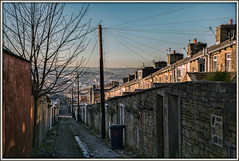 Northern Exposure (david.hayes77) Tags: class142 pacer 2n18 accrington lancashire 2017 terraces alley dmu houses cobbles north northernexposure winter backalley cobblestones