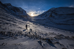 Athabasca Glacier Sunset (robertdownie) Tags: canada sky sunset mountains cold sun rock snow ice alberta national park jasper snowshoe sunstars athabasca glacier