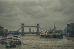 (Paul B0udreau) Tags: london uk thames riverthames england square boats hmsbelfast towerbridge overcast rainy yuckyweather magicunicornverybest
