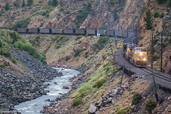 Rainy Day in Byers Canyon (Jake Miille) Tags: unionpacific unionpacificrailroad trains railroad freighttrain coaltrain byerscanyon upmoffattunnelsubdivision colorado coloradoriver coloradorailfanning hotsulphurspringscolorado