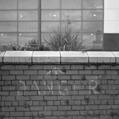 Faint Danger (the underlord) Tags: zeissikonsuperikonta 53316 mediumformat tessar 80mmf28 zeissopton folder folding rangefinder rangefindercamera filmcamera kodaktrix trix 400asa selfdeveloped kodakd76 6mins45atstock kodakfilm kodak filmisnotdead believeinfilm 120 120film square squareformat 6x6 zeissoptontessar synchrocompur ghostsign faint danger southport merseyside wall brickwall noiretblanc blancoynegro biancoenero svartochvitt dduagwyn schwarzweis