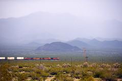 Desert Railroad (Andrew Aliferis) Tags: desert arizona railroad train diesel locomotives landscape atmospheric perspective andrew andy aga aliferis nikon d300s layered