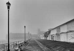 Foggy Morning on the Asbury Boardwalk (Dalliance with Light (Andy Farmer)) Tags: jersey beach ocean boardwalk asburypark water conventionhall sky fog mist nj sand shore newjersey unitedstates us