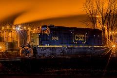 CSX 8048 night photo_DSC6608 (John Troxler) Tags: night photography csx railroad train ethanol plant country steamy tracks