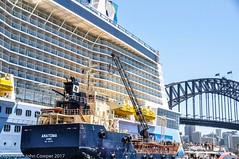 Sydney Cove - Ovation of the Seas, Tanker Anatoma, the SydneyHarbour Bridge and North Sydney (john cowper) Tags: ovationoftheseas sydneycove bunkering anatoma sydneyharbourbridge northsydney sydneyharbour sydney newsouthwales