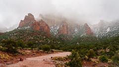 Red Rocks in snow (ejbSF) Tags: sedona redrock arizona snow mountains trails fog hiking