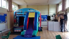 Pirate themed 18x12 combo, bouncy castle and slide in one. Suitable for up to 10 year olds. Only £75 per hire.