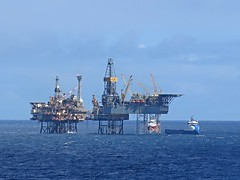 North Sea Oil Rig (Craig Hannah) Tags: uk blue sky industry work scotland boat industrial ship offshore platform gas clear northsea rig oil supply
