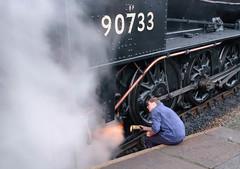 Checking the loco (Stephen@home) Tags: summer england steamengine westyorkshire worthvalleyrailway
