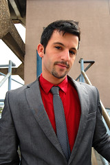 (John Donges) Tags: red portrait people man male rooftop fashion shirt person clothing model tie jacket 2442