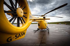 New Scottish Ambulance Service helicopter (Premysl Fojtu) Tags: new rescue detail yellow canon island eos scotland airport orkney outdoor aircraft tail rear north july wideangle medical helicopter fullframe dslr kirkwall mainland eurocopter rotor 2015 ef1740 scottishambulanceservice 5dmkii ec145t2 airbushelicopters gsasn
