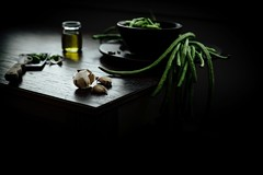 on the table (lisa c shen) Tags: kitchen vegetables dark knife ingredients longbeans