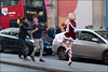 Modern Santa on film - DSCF9218a (normko) Tags: photographer stripy socks skip dance mini skirt london west end christmas santa regent street santaslittlehelper