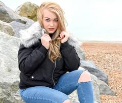 Beach beauty. (pstone646) Tags: youngwoman younglady beauty portrait pretty blonde blueeyes beach kent people