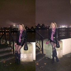 On the Thames (nicegurlnicki) Tags: leather mini skirt jacket boots greenwich thames the yacht tv transvestite crossdressing crossdresser tranny tgirl trav travesti blonde nicegurlnicki legs heels hosiery tights outdoors tg transgender out public nickistyles trafalgartavern leathermini
