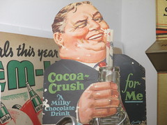 The Taste that Refreshes - Liquid Chocolate Cocoa Crush 0470 (Brechtbug) Tags: the taste that refreshes liquid chocolate cocoa crush cardboard standee ad billboard advertisement 01212017 new york city billboards poster shadows afternoon soda soft drink straw diet can bottle glass milky milk smiling winking man sidney greenstreet type guy 1930s straws sipping