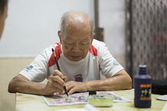 20160730_Caligraphy with Grandpa-3 (kiweep7) Tags: calligraphy brushpen grandparents