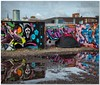 Urban campsite (Hugh Stanton) Tags: puddle reflections appicoftheweek tent city graffiti