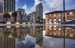 Water puddles are a delight (PeterThoeny) Tags: sanfrancisco california city day cloud cloudy outdoor embarcadero architecture skyscraper building water reflection waterreflection symmetry nex6 selp1650 1xp lphotomatix hdr qualityhdr qualityhdrphotography fav200