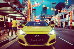 Get In. (Jon Siegel) Tags: nikon d750 24mm sigma sigma24mmf14art sigma24mmf14 sigma24mm 14 car taxi people street night urgency busy evening sunset chinatown chinese singapore singaporean