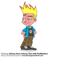 Johnny from Johnny Test with ProMarkers (drawingtutorials101.com) Tags: johnny test cartoon network promarker promarkers alcohol markers color coloring draw drawing drawings how