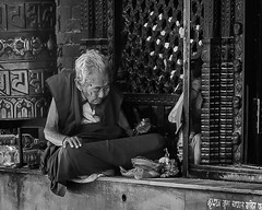 Deeply sunk into a prayer (kristin.krahl) Tags: people asia nepal monk kristinkrahl bw blackandwhite schwarzweis sw
