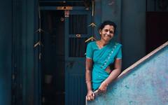 Blue. (nshrishikesh) Tags: portrait environmental evironmentalportrait colors blue walls streets street streetphotography people canon photography photographer photowalk angle steps chennai triplicane
