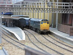 Class 31 at Minorie Station. (ManOfYorkshire) Tags: oogauge emgauge 176 scale model railway layout terminus minories diesel 1960s 1970s railblue suburban trains farehammodelrailwayclub 2016 exhibition 5b51 class31