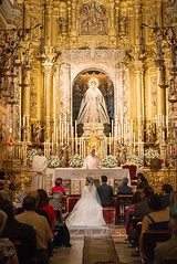 """""""I now pronounce you.........."""" (bighands@yahoo.com) Tags: travel wedding church groom bride sevilla spain married basilica ceremony marriage husband seville wife priest weddingdress fullframe andalusia marry vows d610 marriagevows nikon70210mmf456d basilicademacarena nikond610"""