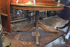 """Late 19/20th c. Duncan Pfyte Style Leather Top Table. NICE • <a style=""""font-size:0.8em;"""" href=""""http://www.flickr.com/photos/51721355@N02/18465395055/"""" target=""""_blank"""">View on Flickr</a>"""