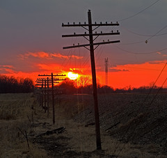 Sunset along the NYC Water Level Route (monon738) Tags: sunset electric power pentax telephone indiana pole powerlines electricity powerpole telegraph electriclines insulator noblecounty newyorkcentralrailroad glassinsulator poleline railroadpole smcpda50135mmf28edifsdm codeline wawakaindiana k5iis