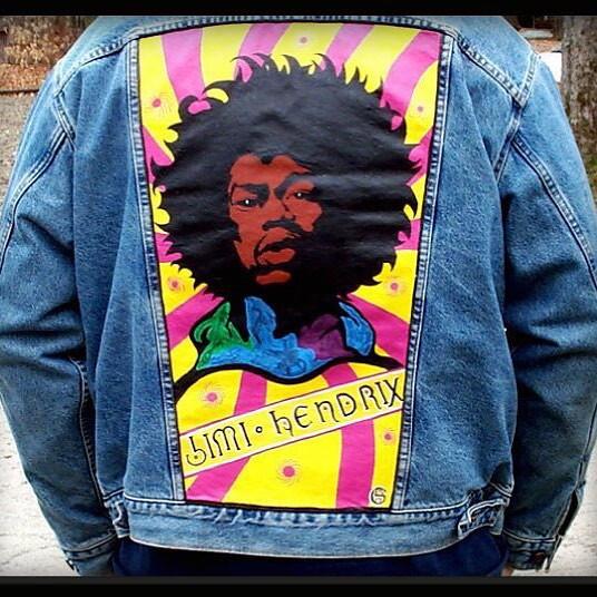 b0fecbfbc9ea58 Custom Jimi Hendrix Denim Jacket by MAG from Punk Your Chucks! ( punkyourchucks) Tags