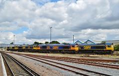 Sheds.... (stavioni) Tags: station train diesel shed rail railway loco locomotive esl eastleigh class66 gbrf 66738 66740 66743 railfrieght 66733